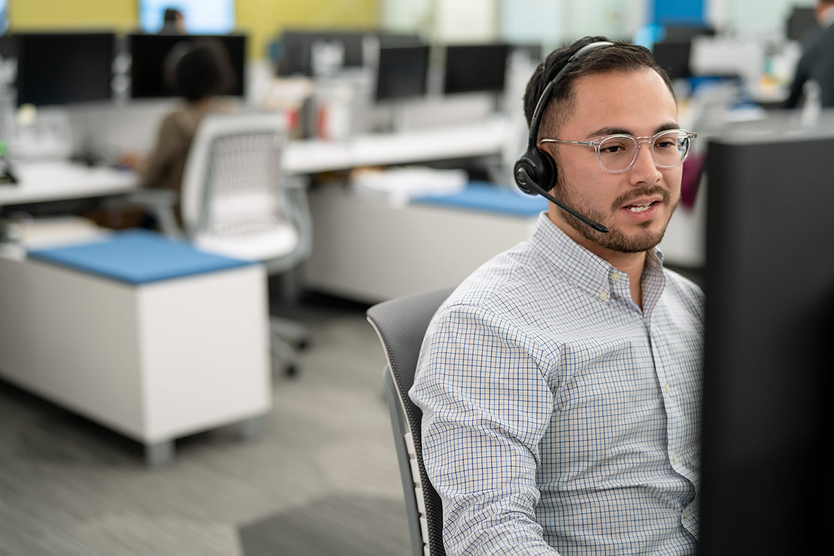 customer service representative on a call