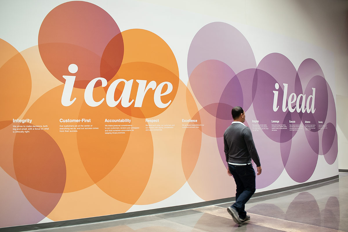 art work on wall stating i care